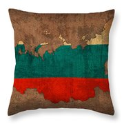 Map Of Russia With Flag Art On Distressed Worn Canvas Throw Pillow