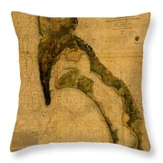 Map Of San Diego Bay California Circa 1857 On Worn Distressed Canvas Parchment Throw Pillow