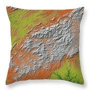 Map Of Southern Appalachia Throw Pillow