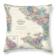 Map Of Southern Italy Sicily Sardinia And Malta Throw Pillow