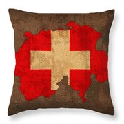 Map Of Switzerland With Flag Art On Distressed Worn Canvas Throw Pillow