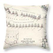 Map Of The Battle Of Trafalgar Throw Pillow