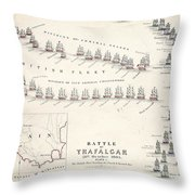 Map Of The Battle Of Trafalgar Throw Pillow by Alexander Keith Johnson
