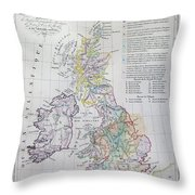 Map Of The British Isles  Throw Pillow