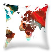 Map Of The World 5 -colorful Abstract Art Throw Pillow