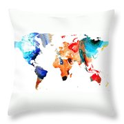 Map Of The World 8 -colorful Abstract Art Throw Pillow