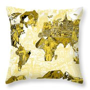 Map Of The World Collage  Throw Pillow