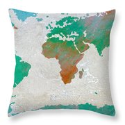Map Of The World - Colors Of Earth And Water Throw Pillow