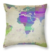 Map Of The World - Plaid Watercolor Splatter Throw Pillow