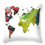 Map Of The World Red Green Throw Pillow