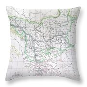 Map Of Turkey Or The Ottoman Empire In Europe Throw Pillow