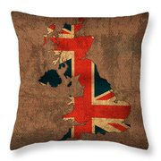 Map Of United Kingdom With Flag Art On Distressed Worn Canvas Throw Pillow