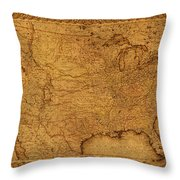 Map Of United States Of America Vintage Schematic Cartography Circa 1855 On Worn Parchment  Throw Pillow