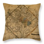 Map Of Washington 1862 Throw Pillow