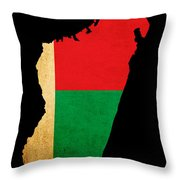 Map Outline Of Madagascar With Flag Grunge Paper Effect Throw Pillow