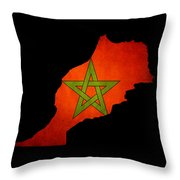 Map Outline Of Morocco With Flag Grunge Paper Effect Throw Pillow