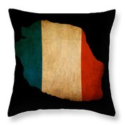 Map Outline Of Reunion Island With Flag Grunge Paper Effect Throw Pillow