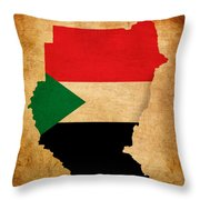 Map Outline Of Sudan With Flag Grunge Paper Effect Throw Pillow