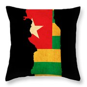 Map Outline Of Togo With Flag Grunge Paper Effect Throw Pillow
