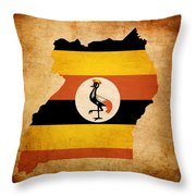 Map Outline Of Uganda With Flag Grunge Paper Effect Throw Pillow
