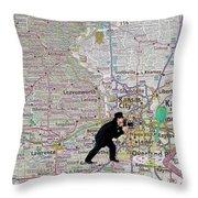 Map Overland Park Kansas Throw Pillow
