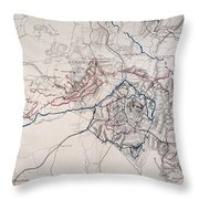 Map: Siege Of Atlanta 1864 Throw Pillow