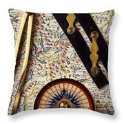 Map With Compass Tools Throw Pillow