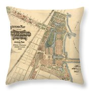 Map: Worlds Fair, 1893 Throw Pillow