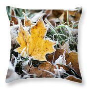 Maple Frost Leaf Art Throw Pillow