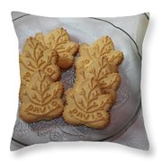 Maple Leaf Cookies And Milk - Food Art - Kitchen Throw Pillow