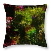 Maple Leaves And Daisys Throw Pillow