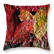 Maple Leaves Cracked Square Throw Pillow