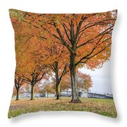 Maple Trees In Portland Downtown Park In Fall Throw Pillow