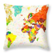 maps pointilism World Map with leaves Throw Pillow