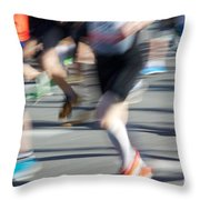 Marathon Runners Throw Pillow