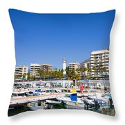 Marbella Marina In Spain Throw Pillow