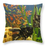 Marble Angelfish Kisses Throw Pillow
