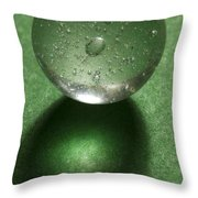Marble Clear On Green 1 Throw Pillow