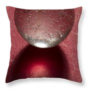 Marble Clear On Red 1 Throw Pillow