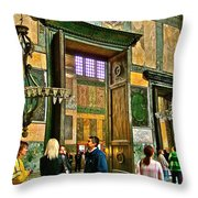 Marble Of Many Colors In Saint Sophia's In Istanbul-turkey Throw Pillow
