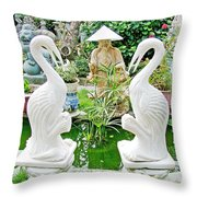 Marble Stork Sculptures In Xuat Anh-vietnam Throw Pillow