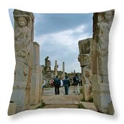 Marble Way From Theater To Central Ephesus-turkey Throw Pillow