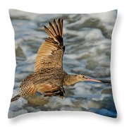 Marbled Godwit Flying Over Surf Throw Pillow