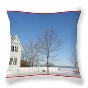 Marblehead Lighthouse In Snow Throw Pillow