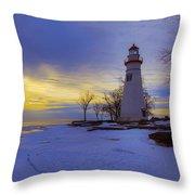 Marblehead Lighthouse Winter Sunrise Throw Pillow