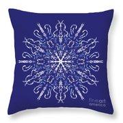 Marbleized Snowflake Kaleidoscope Throw Pillow