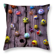 Marbles On Wood Throw Pillow