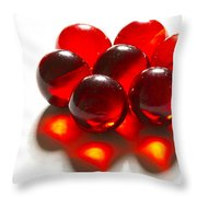 Marbles Red 3 C Throw Pillow