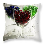 Marbles Wine Glasses 2 Throw Pillow