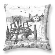 Marbletown Farm Equipment Throw Pillow